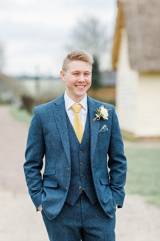 Groom Blue Suit Yellow Tie Tweed Chiltern Open Air Museum Wedding Terri & Lori Fine Art Photography