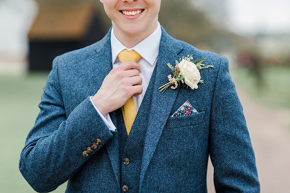 Groom Blue Suit Yellow Tie Tweed Buttonhole Flowers Chiltern Open Air Museum Wedding Terri & Lori Fine Art Photography