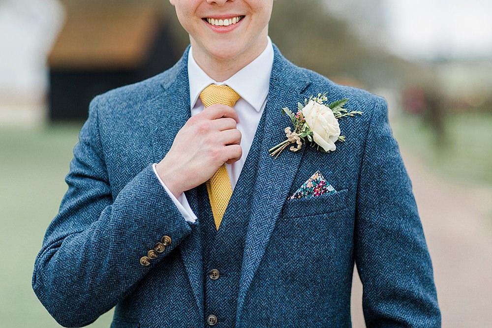 Groom Blue Suit Yellow Tie Tweed Buttonhole Flowers Chiltern Open Air Museum Wedding Terri & Lori Fine Art Photography