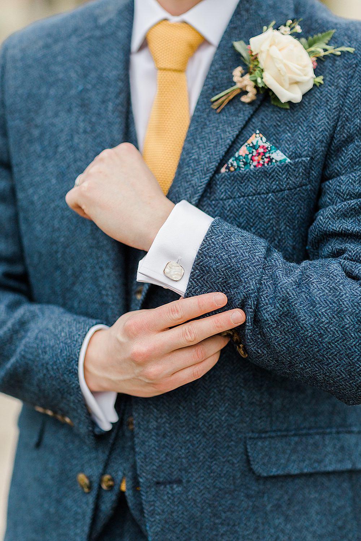 Groom Blue Suit Yellow Tie Herringbone Tweed Cufflinks Chiltern Open Air Museum Wedding Terri & Lori Fine Art Photography