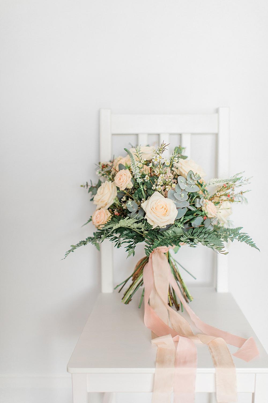 Bouquet Flowers Bride Bridal Silk Ribbon Blush Pink Peach Rose Eucalyptus Fern Chiltern Open Air Museum Wedding Terri & Lori Fine Art Photography