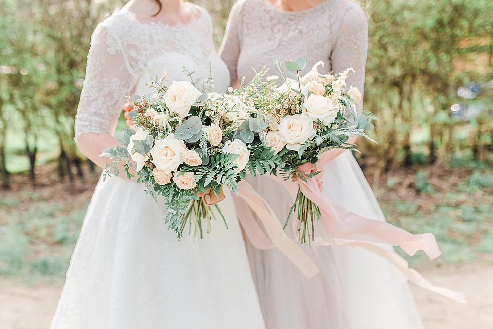 Bouquet Flowers Bride Bridal Silk Ribbon Blush Pink Peach Rose Eucalyptus Fern Bridesmaid Chiltern Open Air Museum Wedding Terri & Lori Fine Art Photography