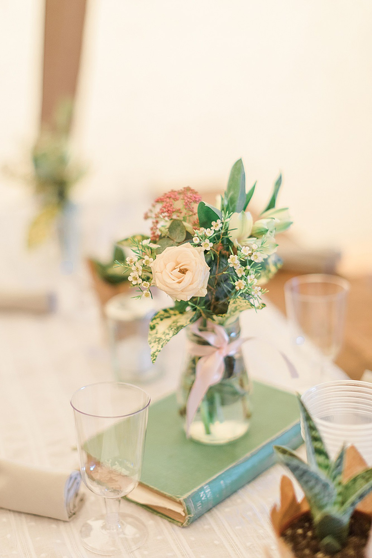 Bottle Jar Flowers Wax Rose Centrepiece Book Table Chiltern Open Air Museum Wedding Terri & Lori Fine Art Photography