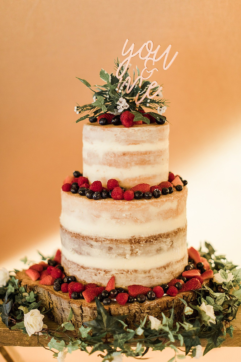 Semi Naked Cake Fruit Topper Log Stand Chiltern Open Air Museum Wedding Terri & Lori Fine Art Photography