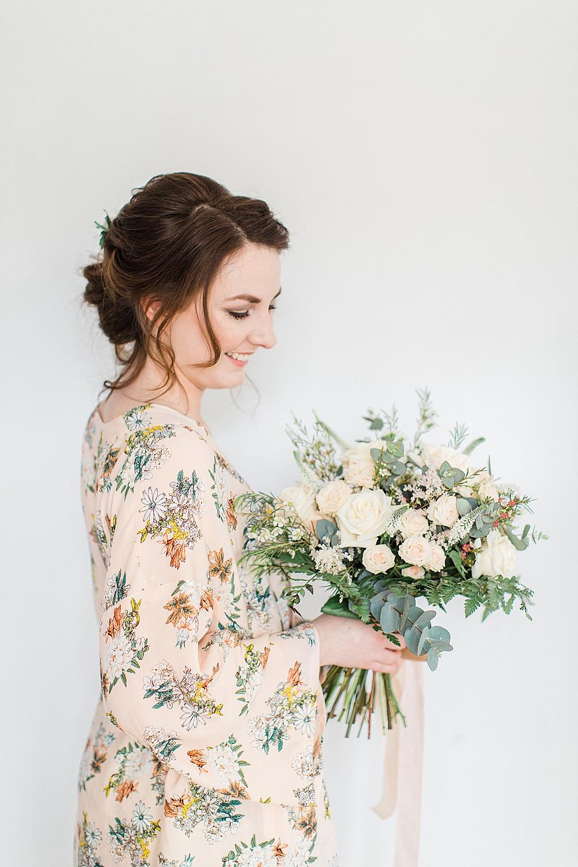Bouquet Flowers Bride Bridal Silk Ribbon Blush Pink Peach Rose Eucalyptus Fern Dressing Gown Robe Floral Chiltern Open Air Museum Wedding Terri & Lori Fine Art Photography