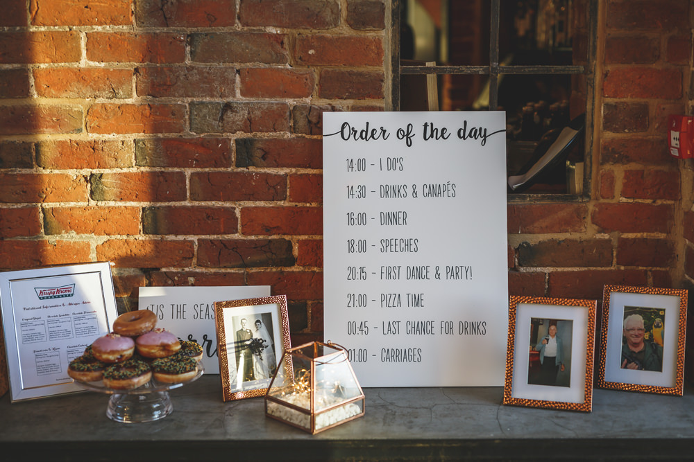 Order of the Day Sign Signage Christmas Wedding Gareth Newstead Photography