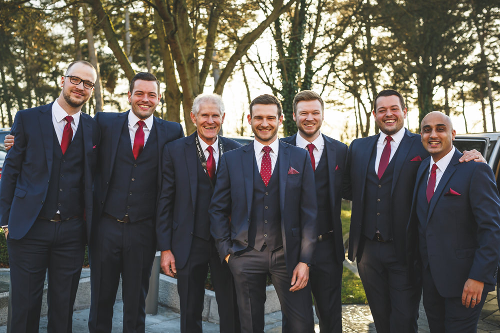 Groom Suit Groomsmen Navy Red Ties Christmas Wedding Gareth Newstead Photography