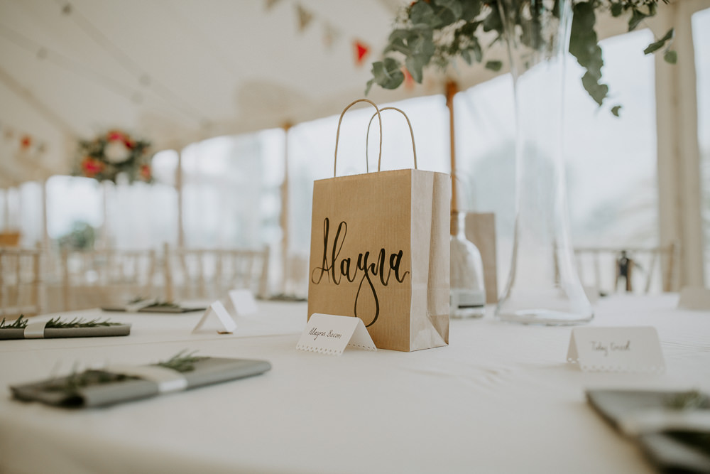 Paper Bag Calligraphy Favours City Cathedral Country Marquee Wedding Siobhan Beales Photography