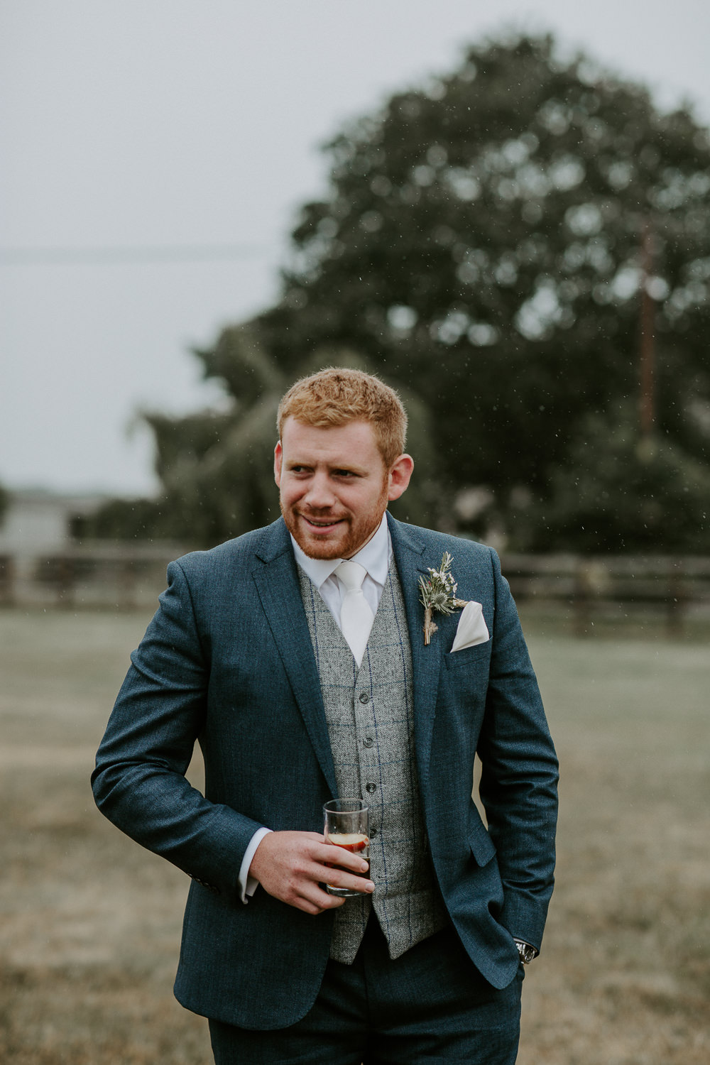 Groom Suit Navy Grey Tweed Waistcoat City Cathedral Country Marquee Wedding Siobhan Beales Photography