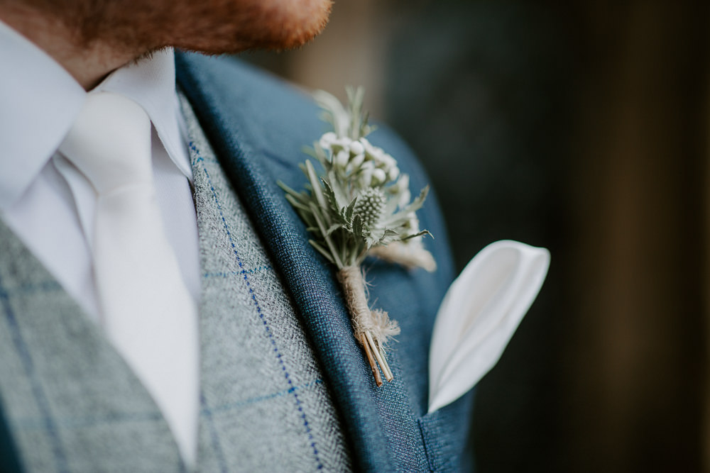 Buttonhole Flowers Groom Twine City Cathedral Country Marquee Wedding Siobhan Beales Photography