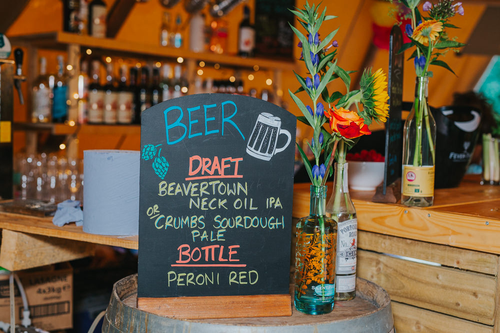 Bar Station Drinks Sign Colourful Tipi Wedding Charlotte Razzell Photography