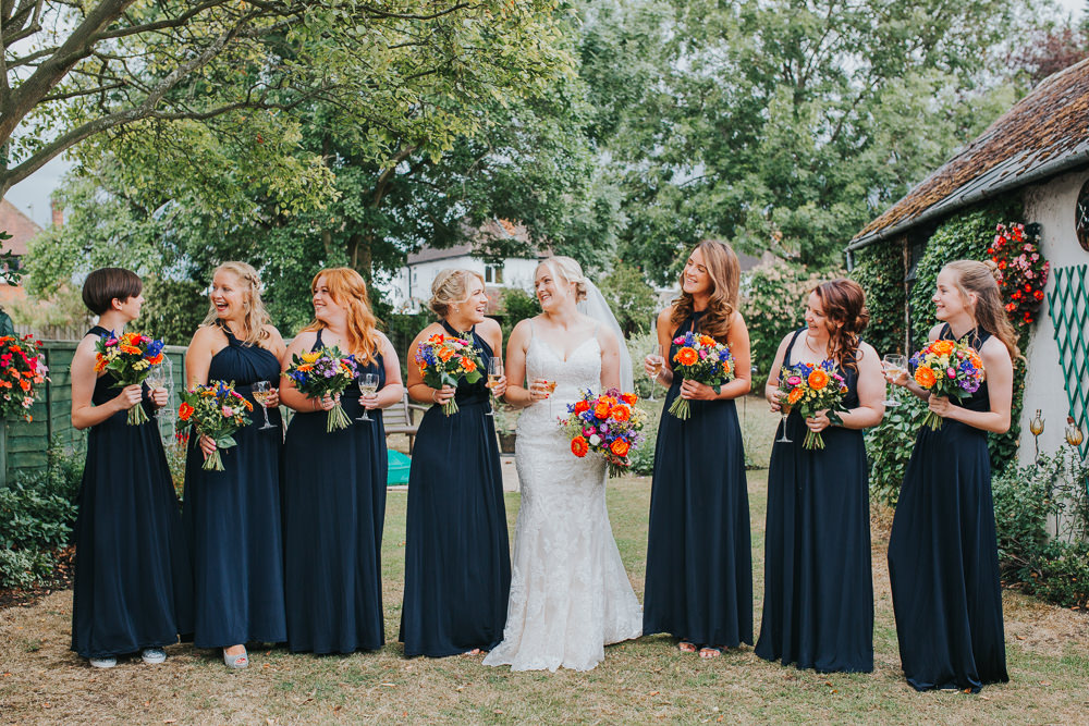 Navy Blue Bridesmaid Dresses Long Maxi Multiway Flowers Bouquets Colourful Tipi Wedding Charlotte Razzell Photography