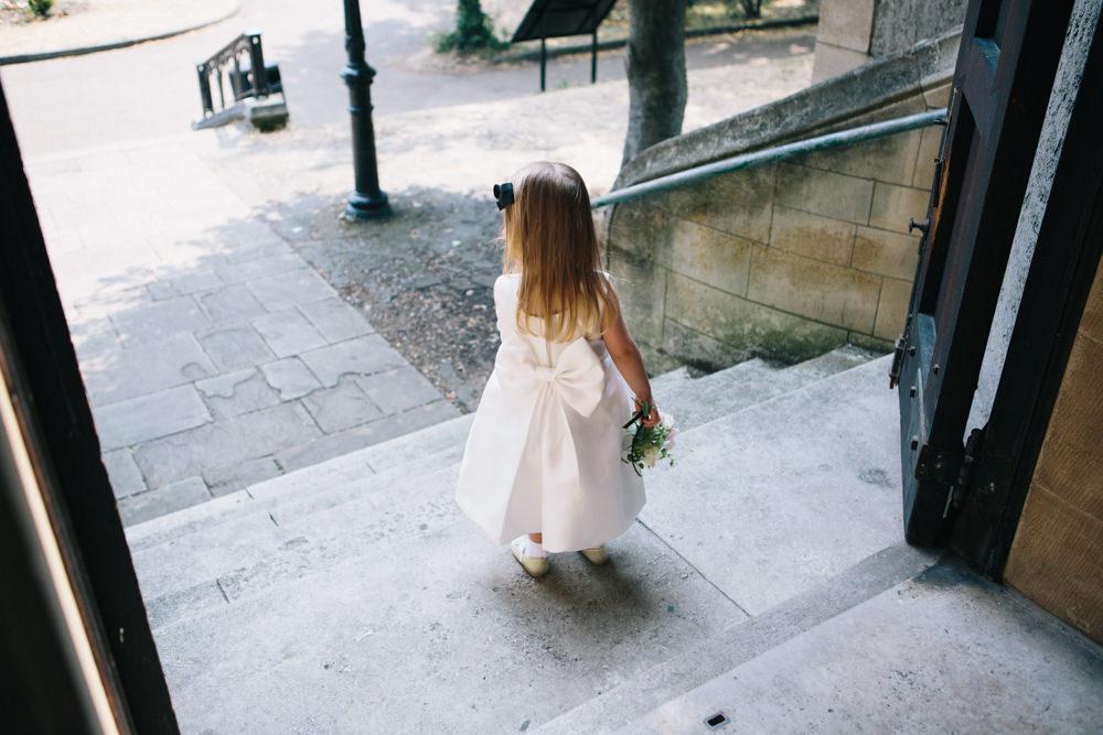 Flower Girl Giant Bow Back Posy East London Leytonstone Wedding Robbins Photographic