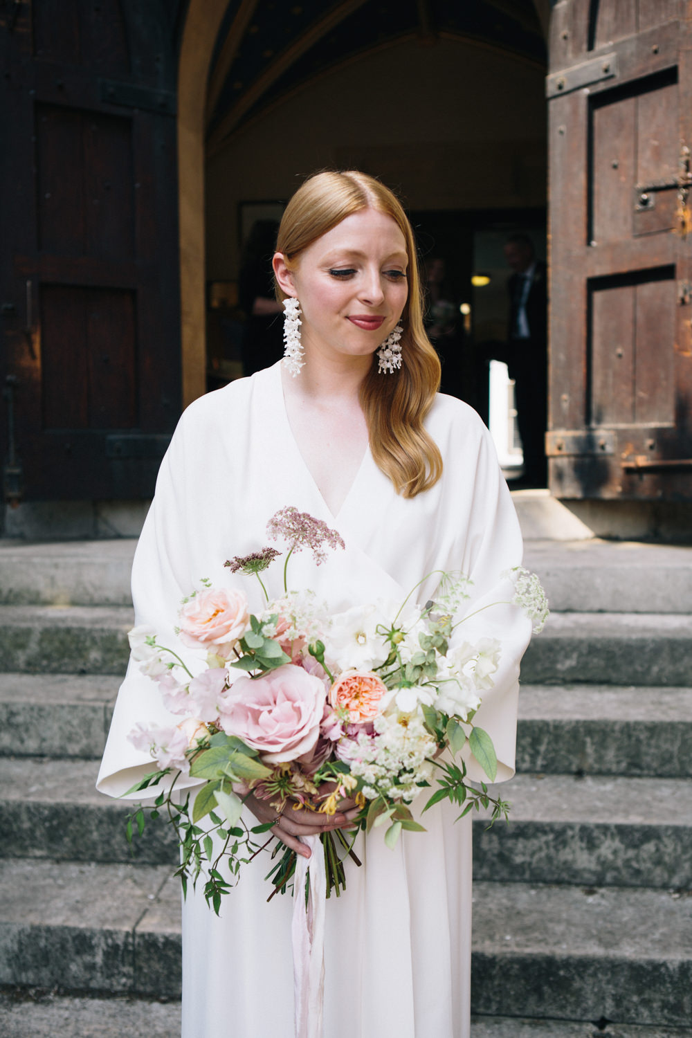 Bride Bridal Kimono Style Silk Dress Peach Pink Bouquet East London Leytonstone Wedding Robbins Photographic