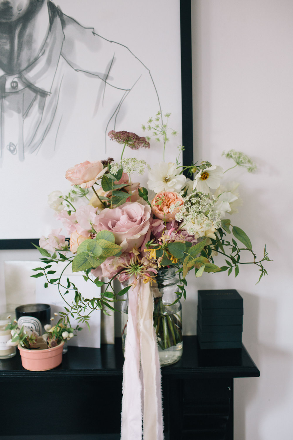 Pink White Peach Rose Peony Foliage Bouquet East London Leytonstone Wedding Robbins Photographic