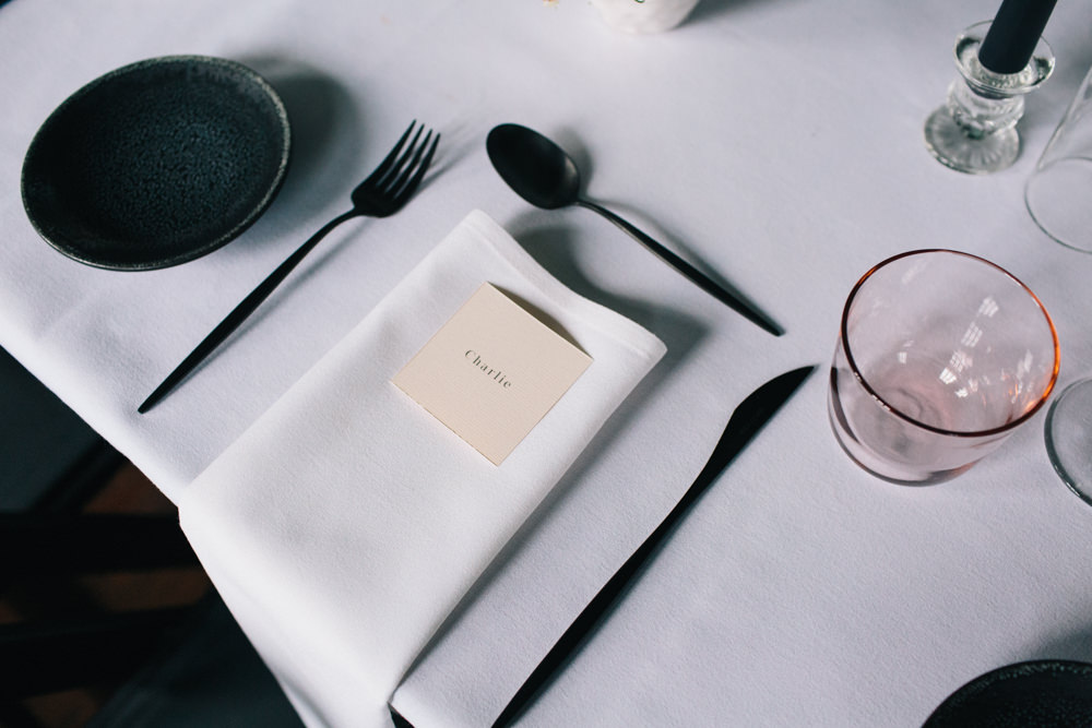 Table Setting Black Cutlery Place Card East London Leytonstone Wedding Robbins Photographic