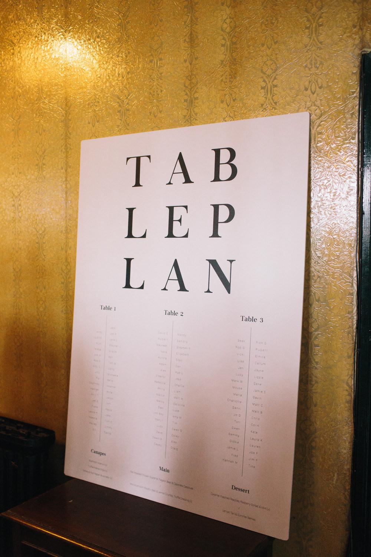 Modern Table Plan Seating Chart East London Leytonstone Wedding Robbins Photographic