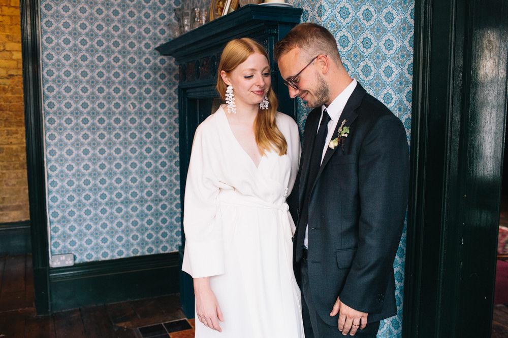 Bride Bridal Kimono Style Silk Dress Dark Suit Groom East London Leytonstone Wedding Robbins Photographic