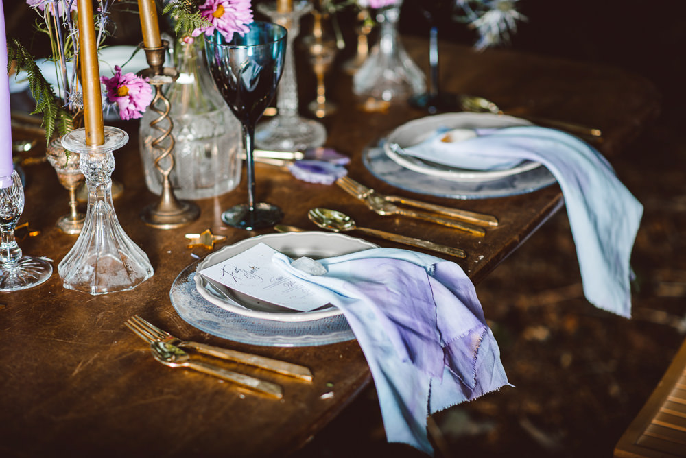 Table Tablescape Decor Pink Purple Gold Napkin Ethereal Magical Golden Hour Wedding Ideas Dhw Photography