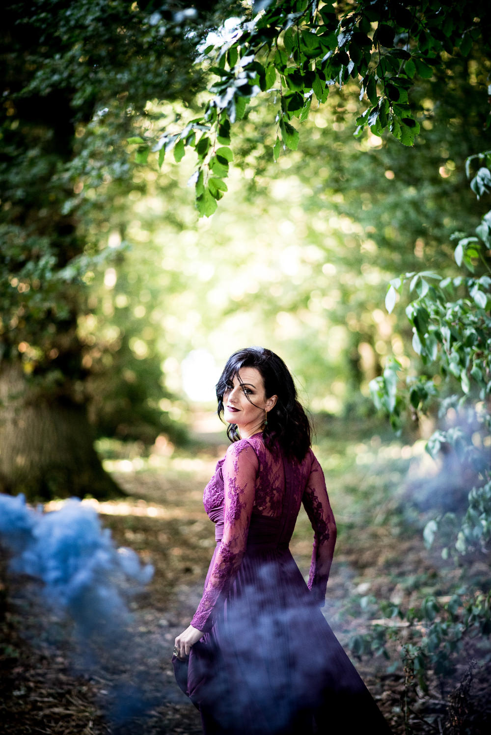 Deep Purple Bridesmaid Dress Long Maxi Smoke Bomb Ethereal Magical Golden Hour Wedding Ideas Dhw Photography