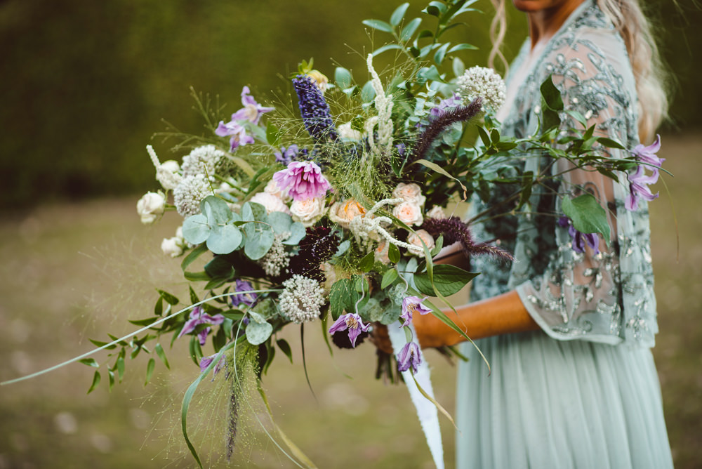 Flowers Bouquet Bride Bridal Pink Purple Rose Greenery Foliage Wild Natural Ethereal Magical Golden Hour Wedding Ideas Dhw Photography