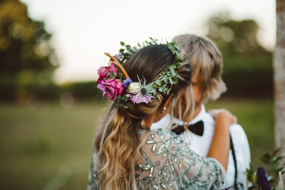 Bride Bridal Hair Twist Rustic Flowers Flower Crown Style Up Do Ethereal Magical Golden Hour Wedding Ideas Dhw Photography