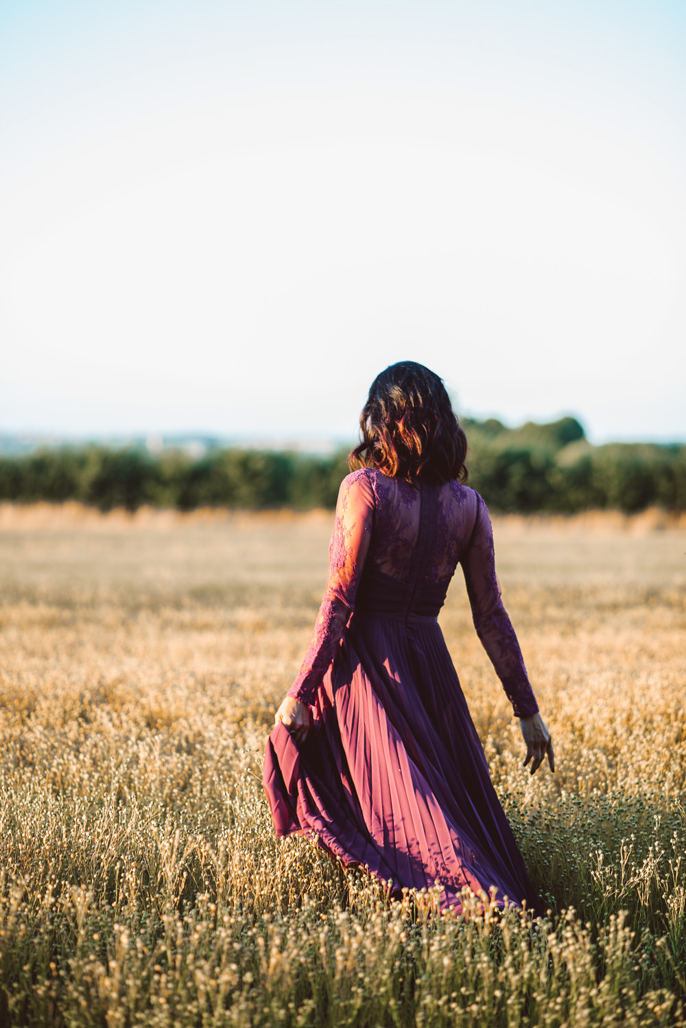Deep Purple Bridesmaid Dress Long Maxi Ethereal Magical Golden Hour Wedding Ideas Dhw Photography