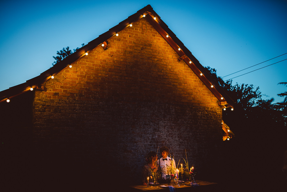 Outdoor Tables Festoon Lights Candles Ethereal Magical Golden Hour Wedding Ideas Dhw Photography