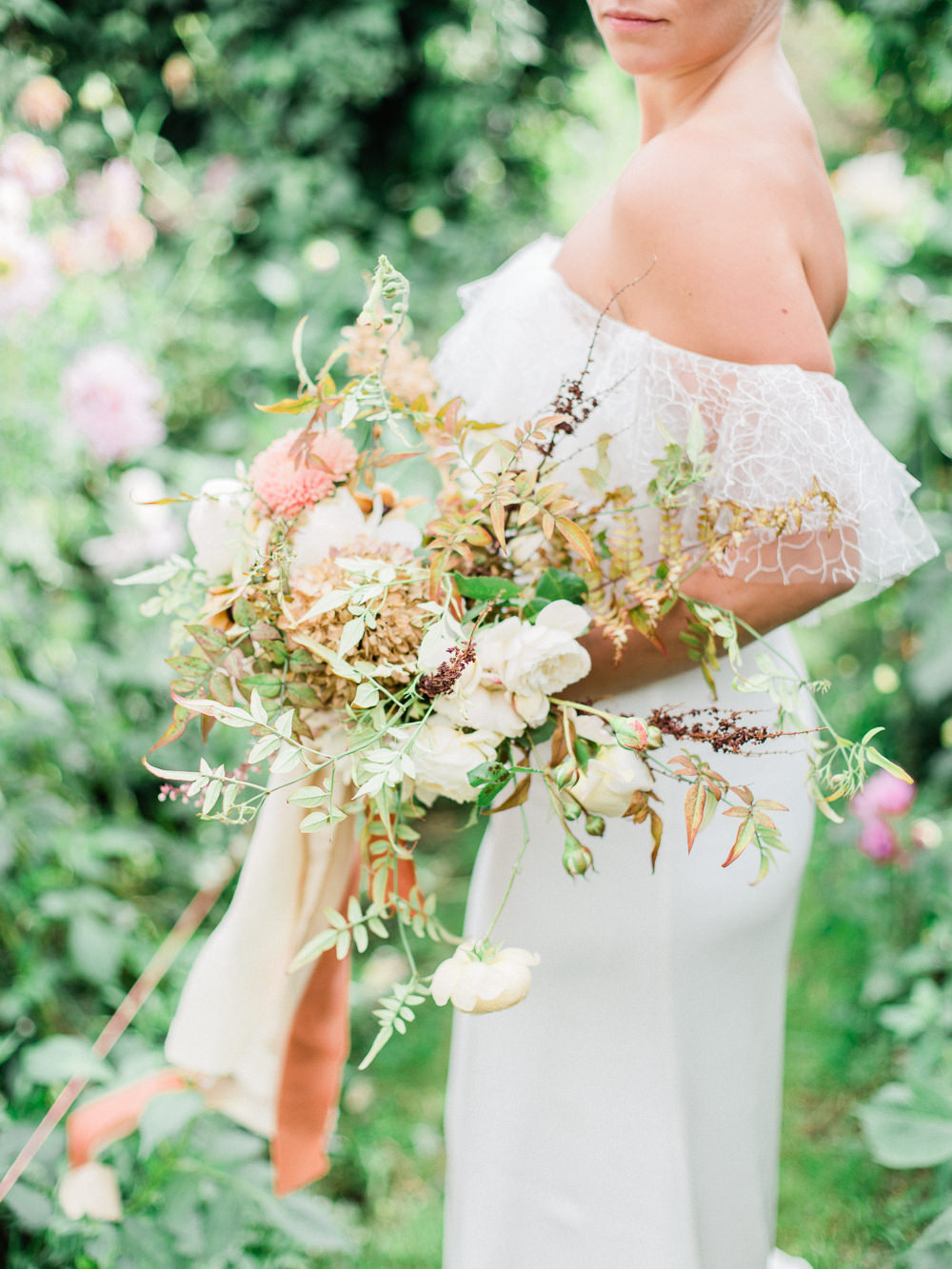 Bouquet Flowers Bride Bridal Peach Apricot Pink Blush Dahlias Rose Greenery Ribbons Fabric Foliage Unstructured Wild Autumn Fine Art Farm Wedding Ideas Seyi Rochelle Photography