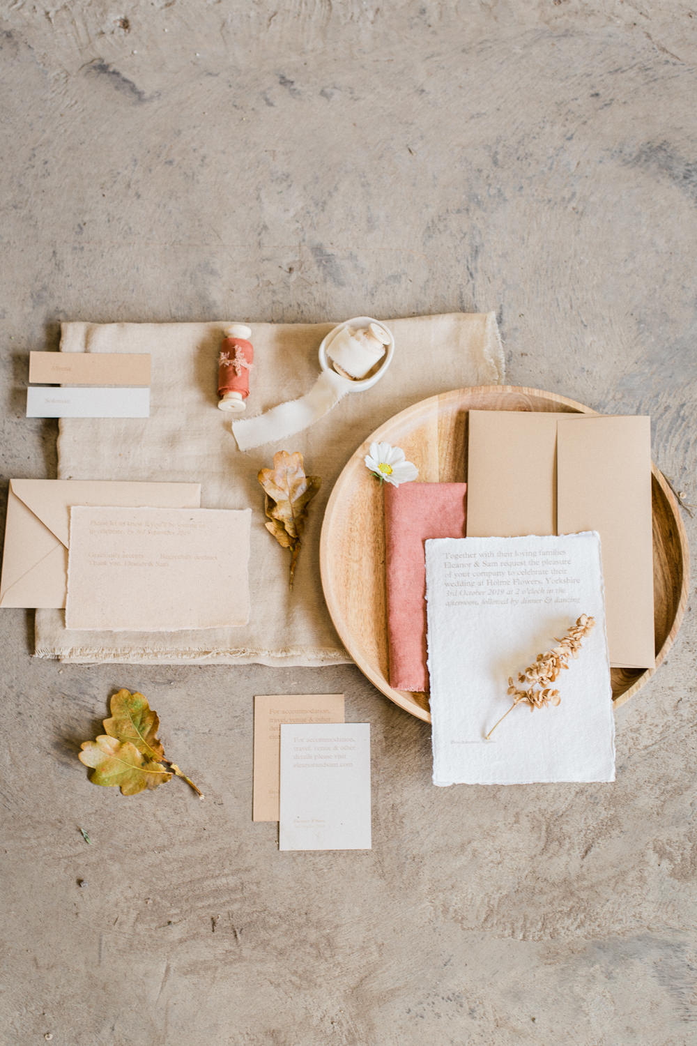 Stationery Suite Flat Lay Invite Inivtations Blush Pink Linen Silk Ribbon Natural Fine Art Farm Wedding Ideas Seyi Rochelle Photography