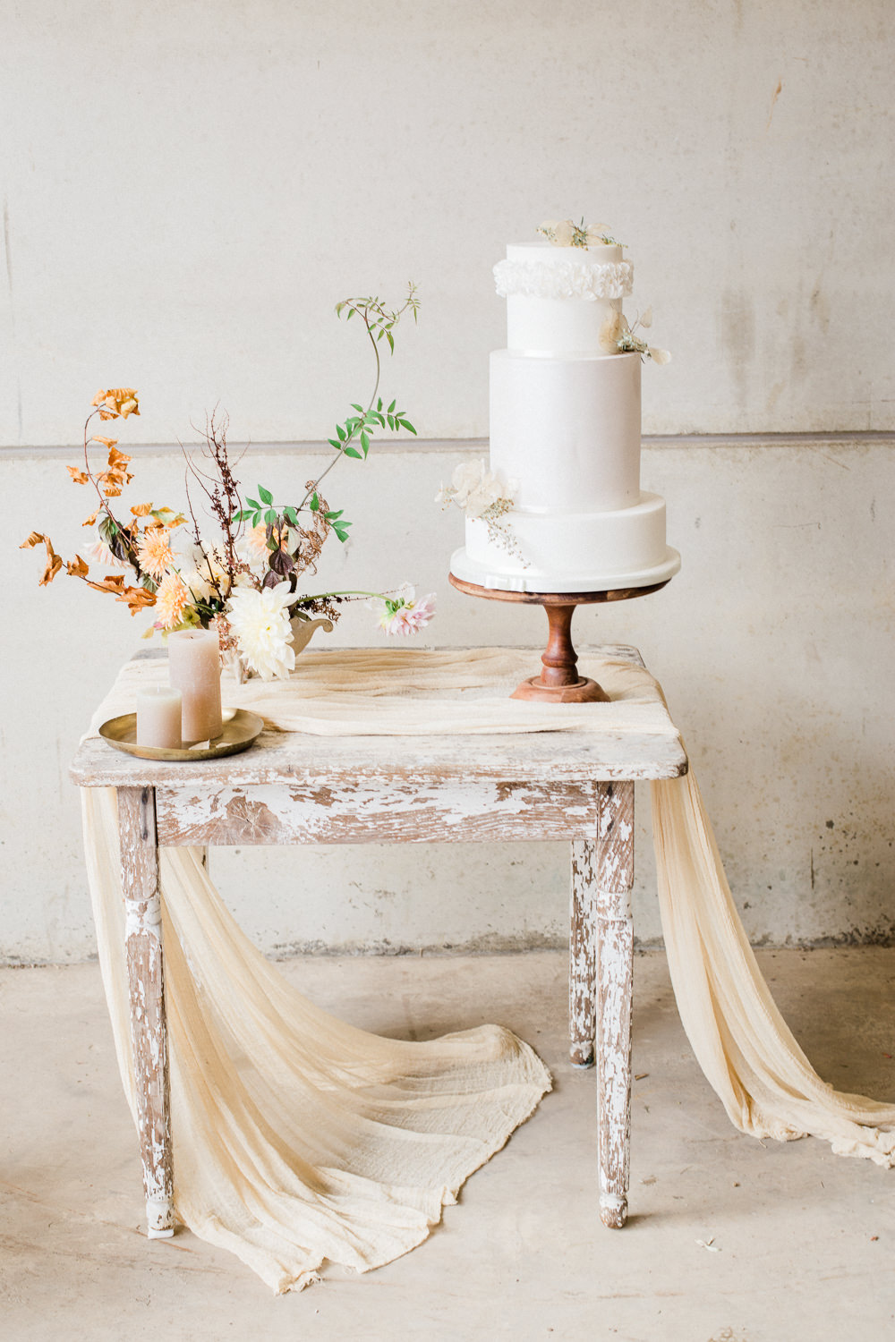 Cake Table Rustic Wooden Silk Cloth Candles Flowers Fine Art Farm Wedding Ideas Seyi Rochelle Photography