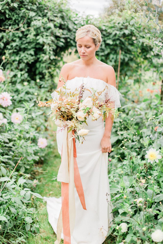 Bride Bridal Dress Gown Off Shoulder Bardot Boho Bohemian Cherry Williams London Frill Ruffle Fine Art Farm Wedding Ideas Seyi Rochelle Photography