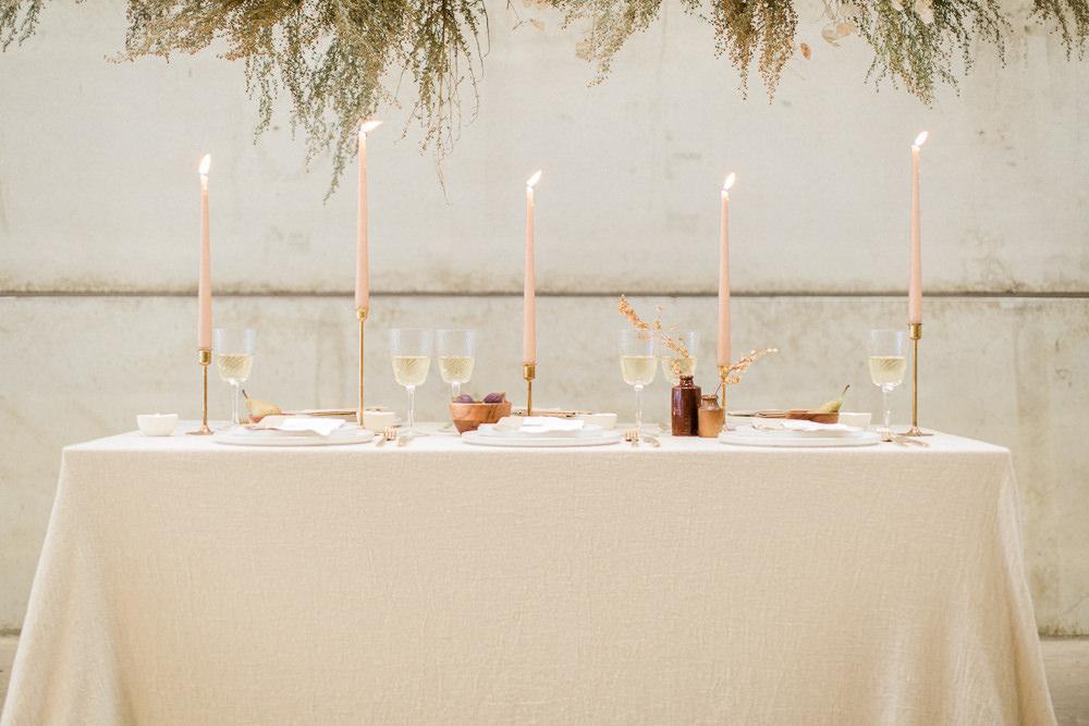 Table Tablescape Decor Blush Candles Linen Fine Art Farm Wedding Ideas Seyi Rochelle Photography