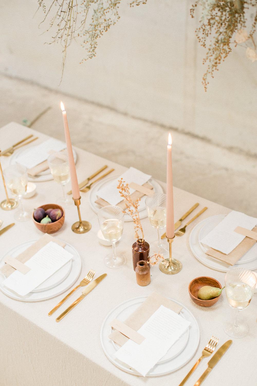 Table Tablescape Decor Blush Candles Linen Gold Fine Art Farm Wedding Ideas Seyi Rochelle Photography