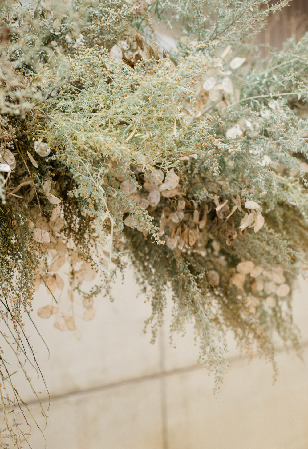 Flower Installation Backdrop Greenery Foliage Grass Grasses Wild Natural Table Suspended Cloud Hanging Fine Art Farm Wedding Ideas Seyi Rochelle Photography
