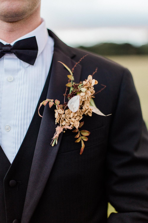Groom Black Suit Tux Tuxedo Bow Tie Buttonhole Flowers Dried Seeds Grasses Fine Art Farm Wedding Ideas Seyi Rochelle Photography