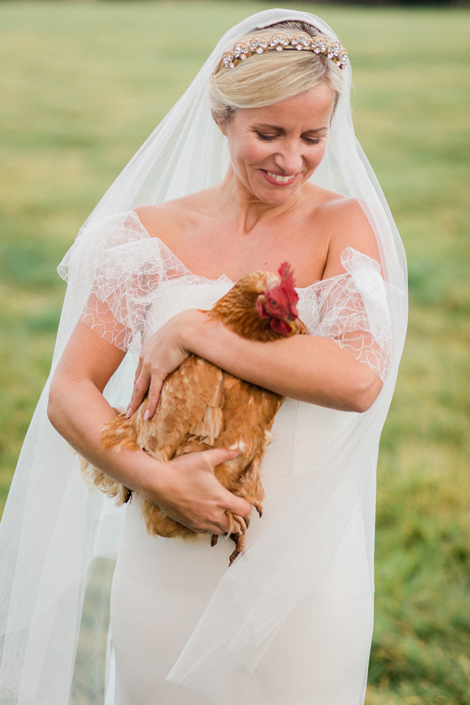 Bride Bridal Dress Gown Off Shoulder Bardot Boho Bohemian Cherry Williams London Frill Ruffle Chicken Hen Fine Art Farm Wedding Ideas Seyi Rochelle Photography