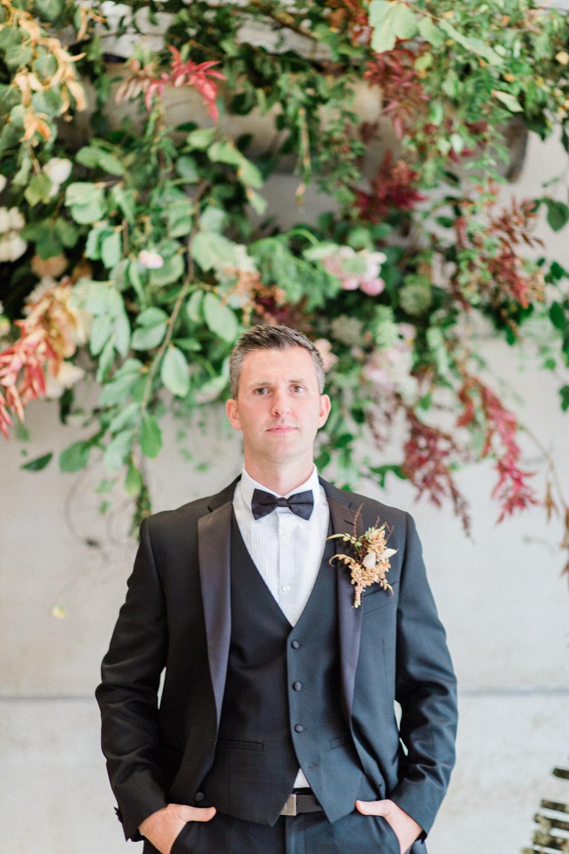 Groom Black Suit Tux Tuxedo Bow Tie Fine Art Farm Wedding Ideas Seyi Rochelle Photography