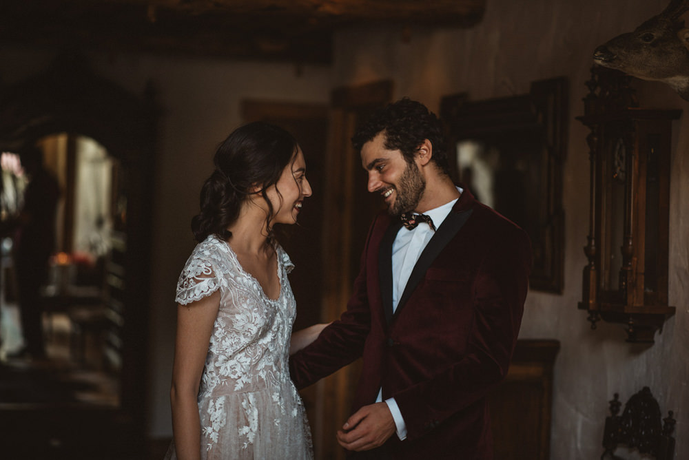 First Look French Alps Folk Boho Mountain Wedding Ideas Katja & Simon Photography