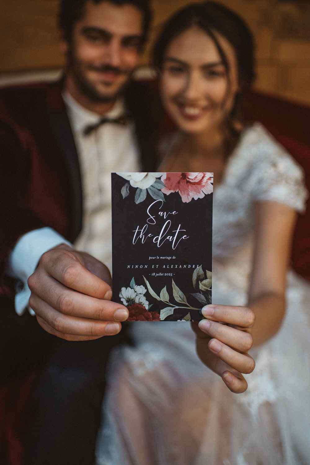 Stationery Suite Invite Invitations Red Black Floral Calligraphy French Alps Folk Boho Mountain Wedding Ideas Katja & Simon Photography