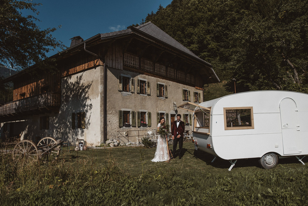 Cocktail Bar Vintage Caravan Truck Station French Alps Folk Boho Mountain Wedding Ideas Katja & Simon Photography