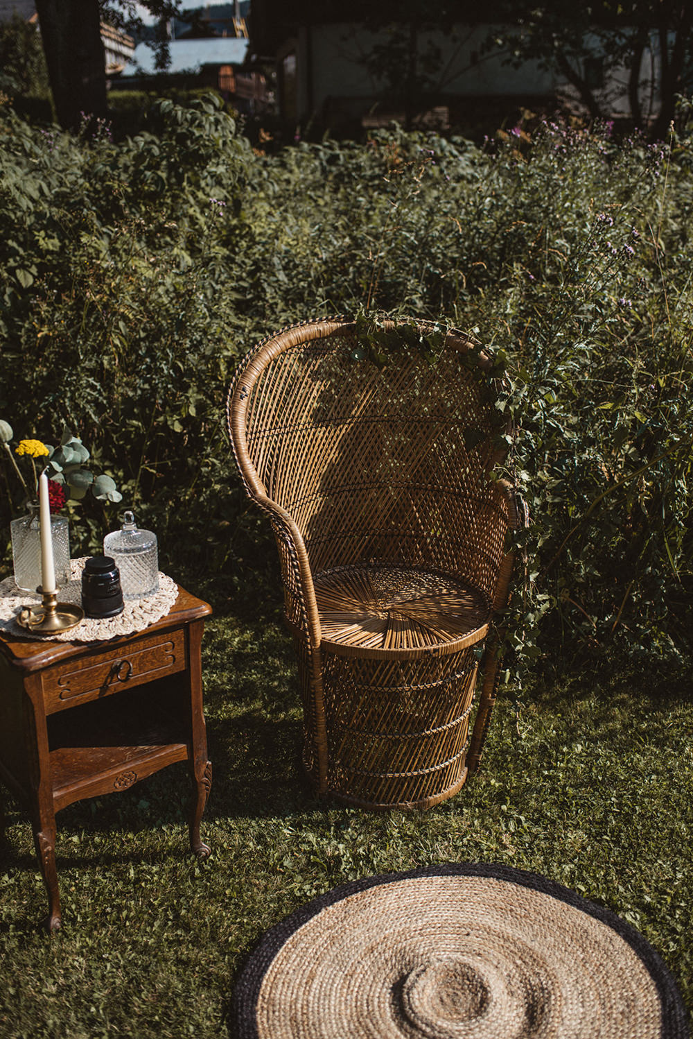 Peacock Chairs French Alps Folk Boho Mountain Wedding Ideas Katja & Simon Photography