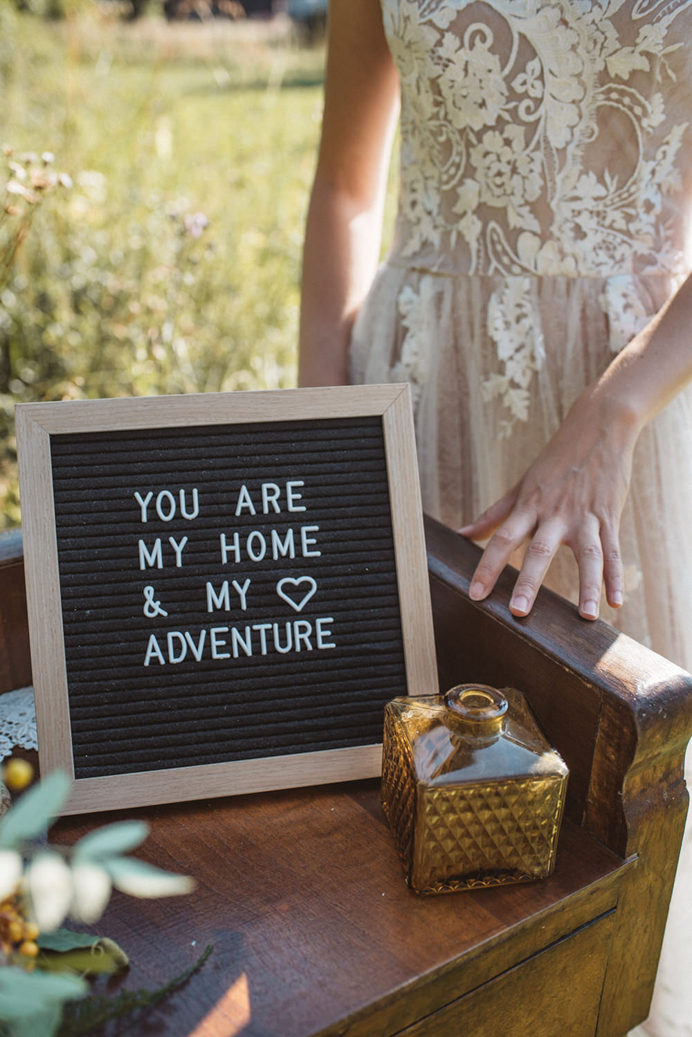 Felt Board Sign Signage French Alps Folk Boho Mountain Wedding Ideas Katja & Simon Photography