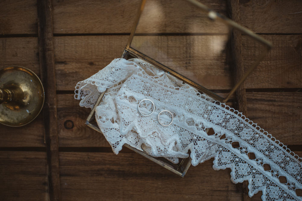 Lace Garter Gold Rings French Alps Folk Boho Mountain Wedding Ideas Katja & Simon Photography
