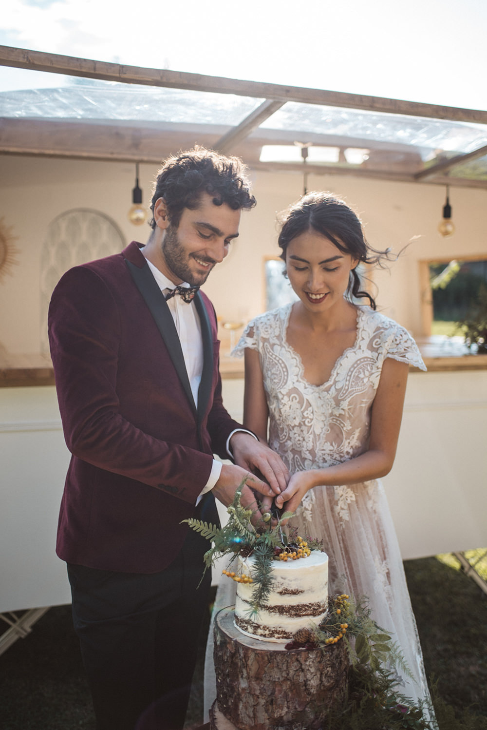 Cake Log Tree Stump Semi Naked Flowers Greenery Foliage French Alps Folk Boho Mountain Wedding Ideas Katja & Simon Photography