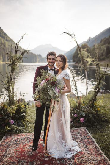 Backdrop Flowers Ceremony Persian Rug Aisle Branches Lake Outdoor French Alps Folk Boho Mountain Wedding Ideas Katja & Simon Photography