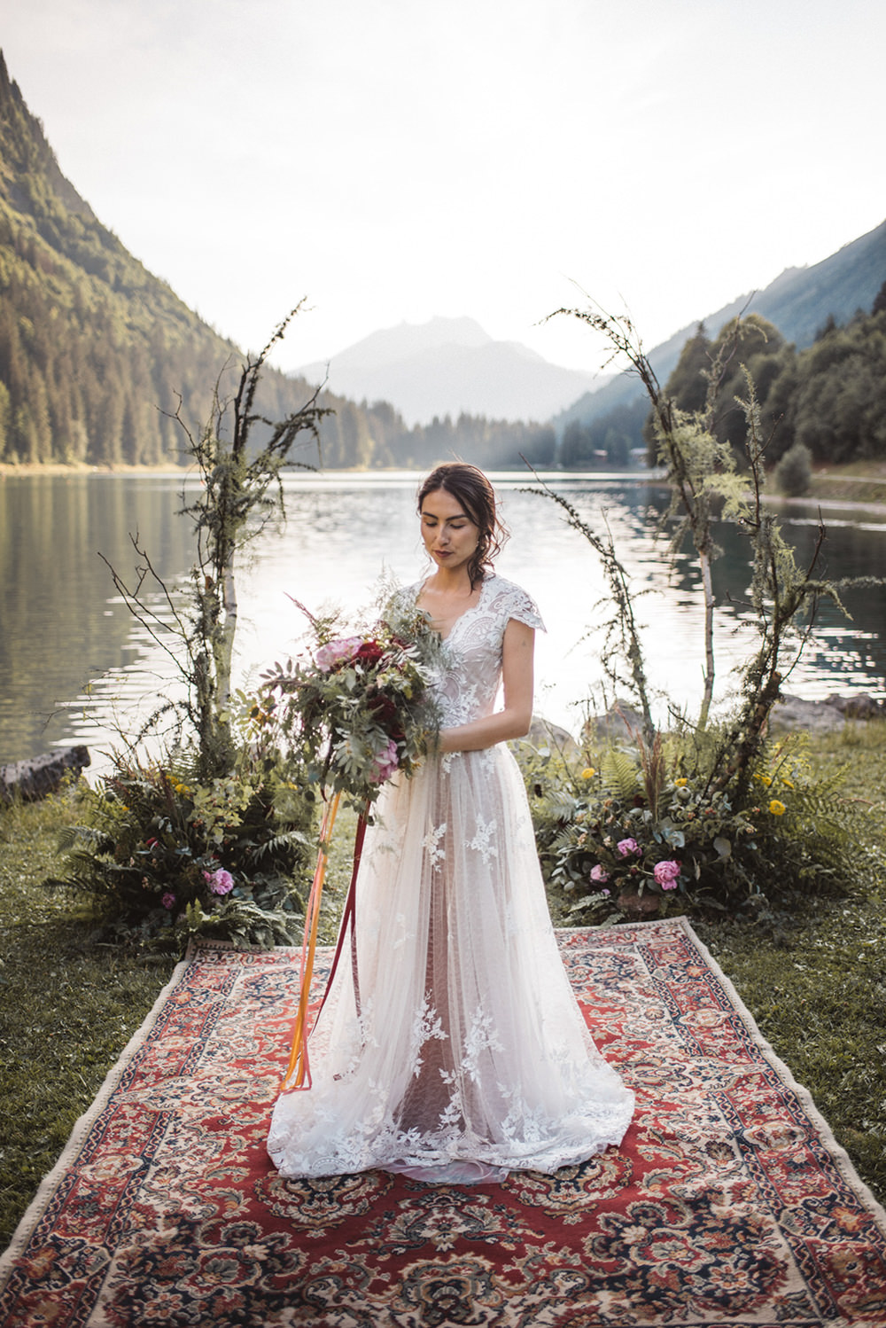 Dress Gown Bride Bridal Lace Cap Sleeves Train French Alps Folk Boho Mountain Wedding Ideas Katja & Simon Photography