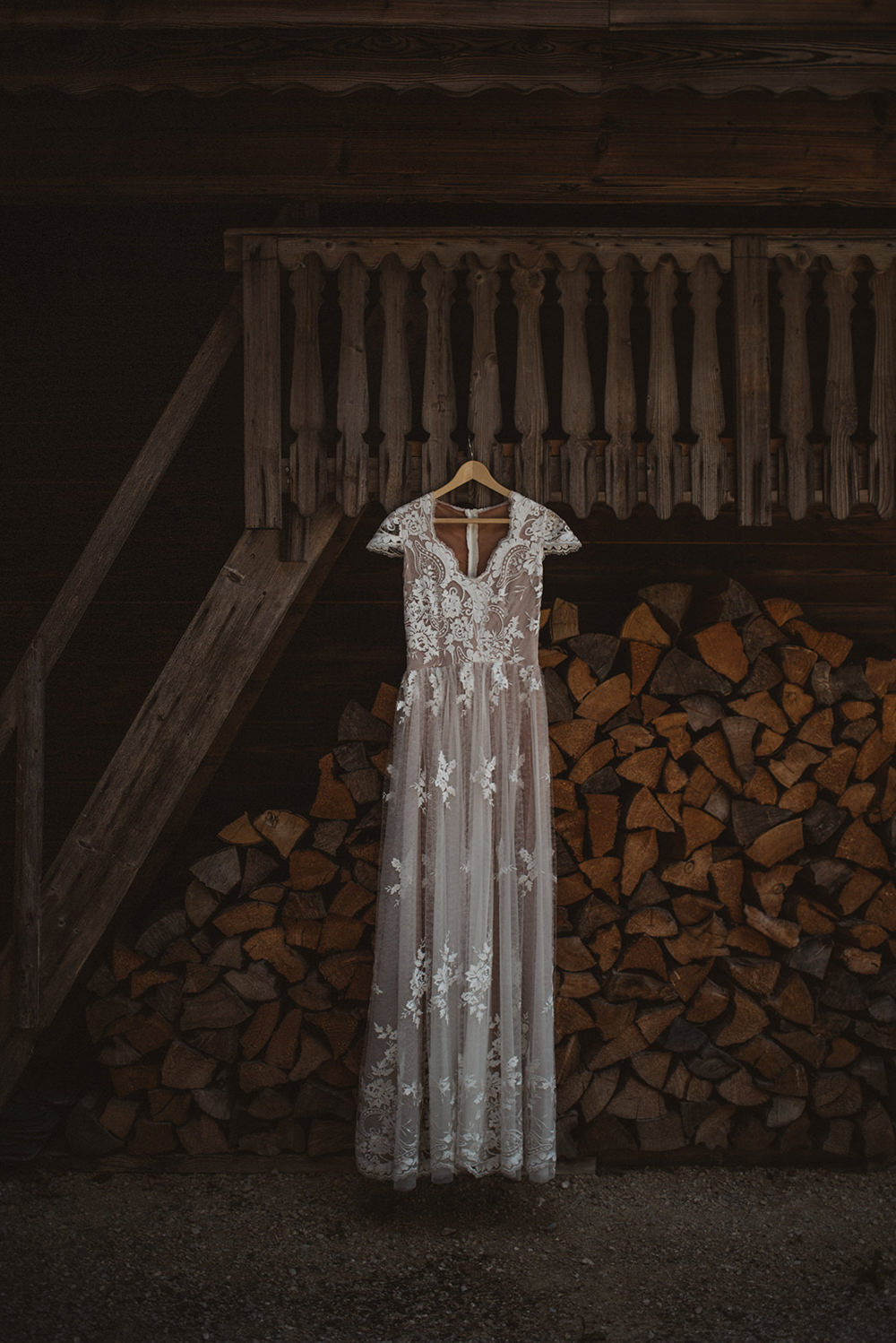 Dress Gown Bride Bridal Lace Cap Sleeves French Alps Folk Boho Mountain Wedding Ideas Katja & Simon Photography