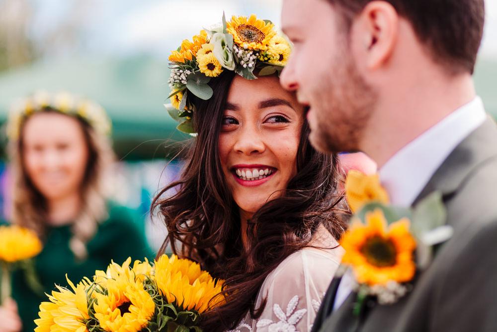 Sunflower Flower Crown Bride Bridal Fun Colourful Festival Camp Wedding Rachel Burt Photography