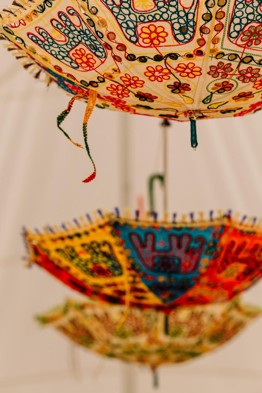 Hanging Suspended Umbrellas Decor Marquee Fun Colourful Festival Camp Wedding Rachel Burt Photography